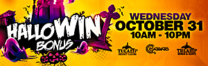 At Quil Ceda Creek Casino just north of Bellevue on I-5 swipe your ONE club card and pick a pumpkin to earn up to $200 in Free Play.