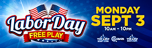 At Quil Ceda Creek Casino just north of Bellevue on I-5 swipe your ONE club card and play the virtual strong man game for Free Play on Labor Day!