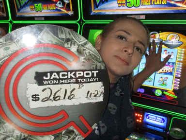 Play slots at Quil Ceda Creek Casino north of Bellevue and Edmonds on I-5 like Heidy C. hitting a big jackpot on Invaders of Planet Moolah!