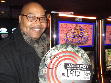 Play slots at Quil Ceda Creek Casino north of Kirkland and Edmonds on I-5 like Trent J. hitting a big jackpot on Pharaoh's Fortune!