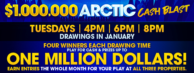 Advertisement for the $1,000,000 ARCTIC CASH BLAST drawings, Tuesdays in January.