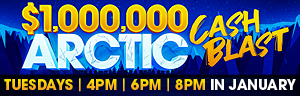 Advertisement for the $1,000,000 Artic Cash Blast Drawings promotion at Quil Ceda Creek Casino.