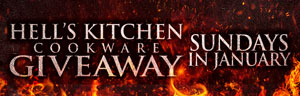 Advertisement for the Hell's Kitchen Cookware Giveaway drawings promotion at Quil Ceda Creek Casino.