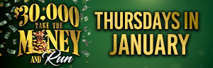 Advertisement for the $30,000 Take the Money and Run drawings promotion at Quil Ceda Creek Casino.
