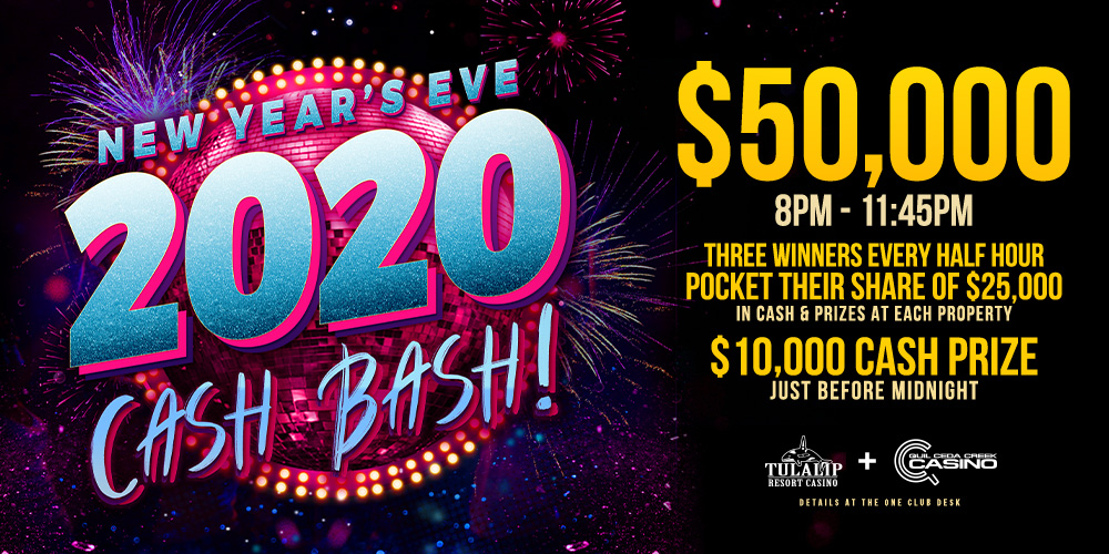 Advertisement for the New Year's Eve Cash Bash Drawings promotion at Quil Ceda Creek Casino.