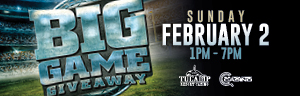 Advertisement for the Big Game Giveaway drawings promotion at Quil Ceda Creek Casino.