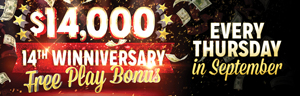 At Quil Ceda Creek Casino just north of Bellevue near Everett on I-5 join in the 14th Winniversary Free Play Bonus hot seat drawings Thursdays in September!