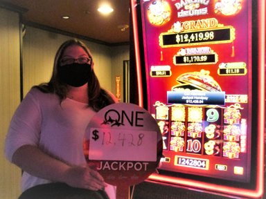 Jessica V. won $12,428 playing Dancing Drums at Quil Ceda Creek Casino.