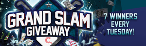 At Quil Ceda Creek Casino north of Bellevue near Marysville, WA on I-5 play the Grand Slam Giveaway on Tuesdays in April!