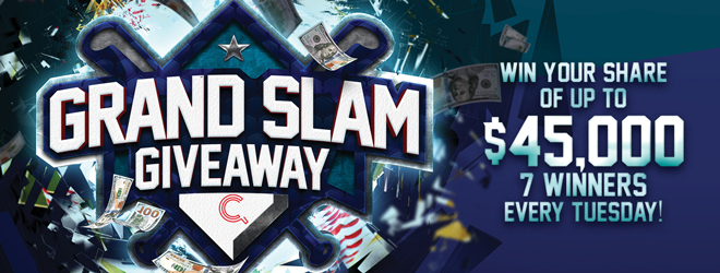 At Quil Ceda Creek Casino north of Seattle near Marysville, WA on I-5 play the Grand Slam Giveaway on Tuesdays in April!