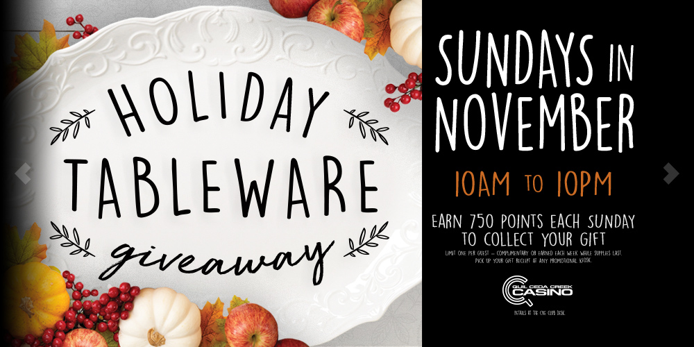 Image of the Holiday Tableware Giveaway promotion, Sundays in November
