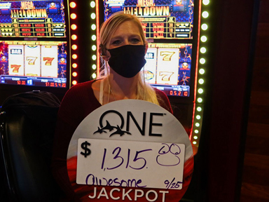 Jessica R. won $1,315 playing Mega Meltdown - Jackpot Lockdown at the Quil Ceda Creek Casino in Marysville North of Seattle.
