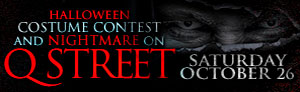 Advertisement image of the halloween costume contest and nightmare on Q street promotion