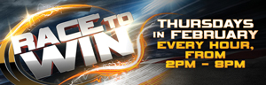 Race to Win at Quil Ceda Creek Casino near Everett, WA on I-5 every Thursday in February starting at 2:00 PM!