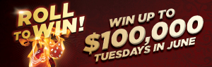 At Quil Ceda Creek Casino just north of Lynnwood near Marysville, WA on I-5 you can play the $100,000 Roll to Win game every Tuesday in June!