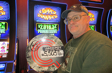 Win big at Quil Ceda Creek Casino just north of Bellevue near Marysville, WA on I-5 like Kenneth S. on the Copper Dropper Progressive slot machine!