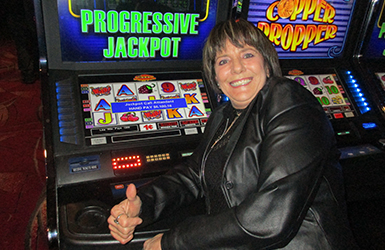 At Quil Ceda Creek Casino north of Bothell near Marysville, WA on I-5 Brenda V. hit a big slots jackpot on Copper Dropper Progressive!