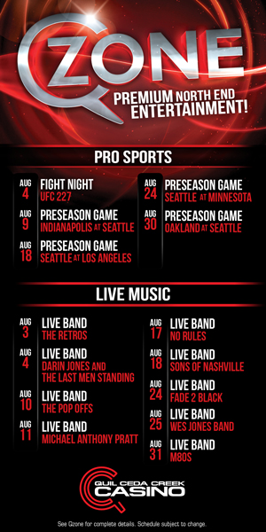 Quil Ceda Creek Casino just north of Seattle near Marysville, WA on I-5 has great events in August including live music and UFC action!