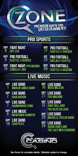 Quil Ceda Creek Casino just north of Seattle near Marysville, WA on I-5 has great events in September including live music and UFC action!