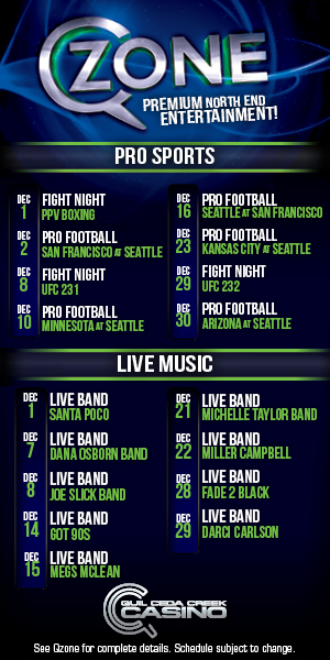 Quil Ceda Creek Casino just north of Seattle near Marysville, WA on I-5 has great events in December including live music and UFC action!