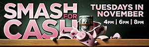 Play slots at Quil Ceda Creek Casino north of Bellevue and Redmond on I-5 and gain entries to the $27,500 Smash for Cash Drawings held on Tuesdays in November!