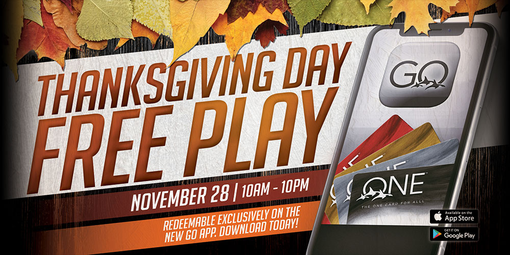 Thanksgiving Day Free Play at Quil Ceda Creek Casino ONE club