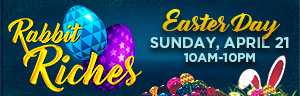 Play slots at Quil Ceda Creek Casino just north of Bellevue and Everett on I-5, and enter Rabbit Riches for Free Play on Sunday, April 21!