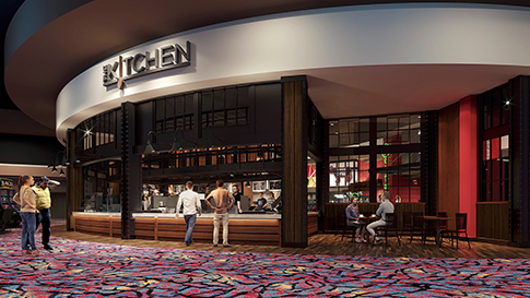 Artist rendition of The Kitchen exterior at the New Quil Ceda Creek Casino opening on February 3rd, 2021 located in Marysville!